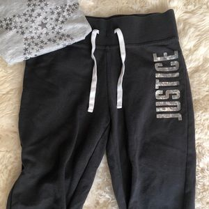 Justice active cropped ruched leg sweatpants sz 12